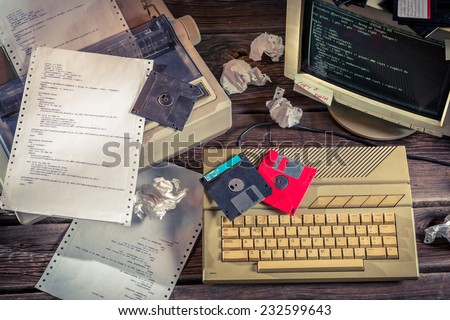 Finding solutions algorithm of programming languages - stock photo