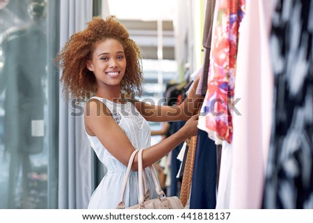Finding that perfect outfit - stock photo