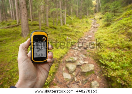 finding the right position in the forest via gps ( blurred background ) - stock photo