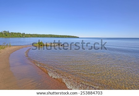 Findlay Bay on a summer day on Lake Superior  in Ontario - stock photo