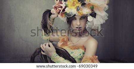 Fine art photo of a angry woman - stock photo