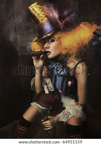 Fine art photo of a bad clown - stock photo