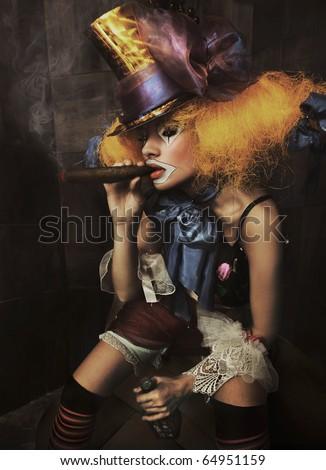Fine art photo of a bad clown - stock photo