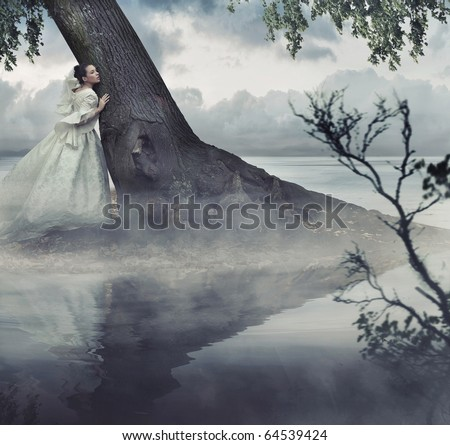 Fine art photo of a woman in beauty scenery - stock photo