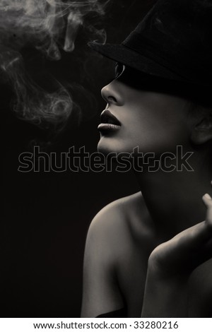 Fine art portrait of a elegant lady - black white version - stock photo