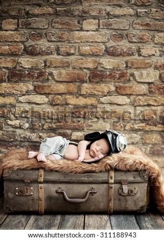 Fine art portrait of a newborn baby - stock photo