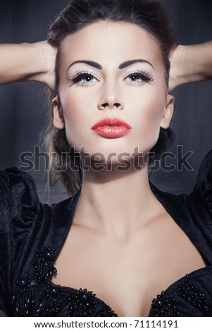Fine art portrait of a young beautiful woman - stock photo