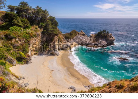 Fine beach and falls on Pacific coast, Big Sur. California, USA - stock photo