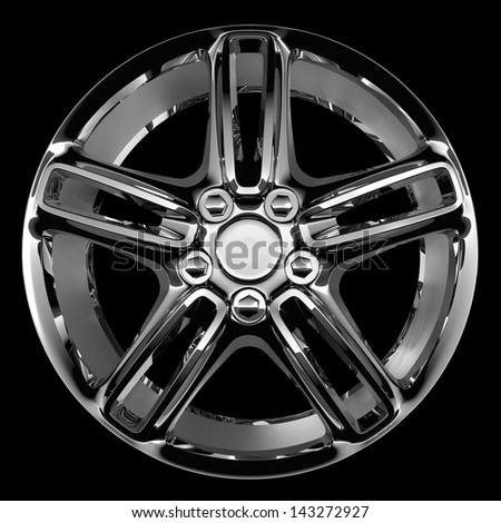 fine chrome car disc isolated on black - stock photo