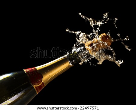 fine close up image of bottle of champagne background - stock photo