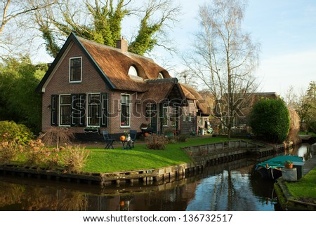 Fine country view in Giethoorn, Netherlands. - stock photo