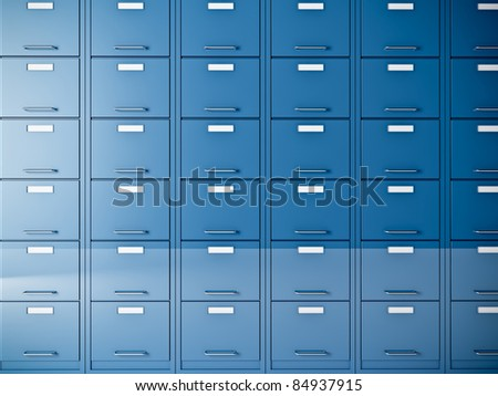 fine 3d image of blue file cabinet - stock photo