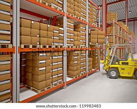 fine 3d image of classic warehouse - stock photo
