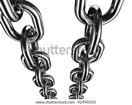 fine 3d image of metal chain on white background - stock photo