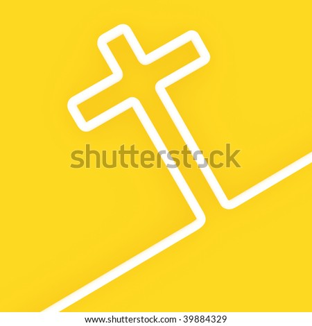 fine 3d image of white cross on yellow background colors of vatican - stock photo