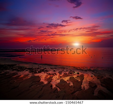 Fine dawn on island Bali - stock photo