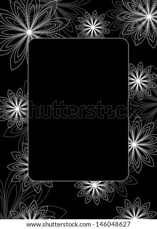 Fine decorative frame - black and white - stock photo