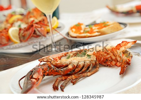 Fine Dining with Grilled Lobster - stock photo