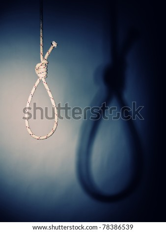 fine image of classic noose and shadow - stock photo