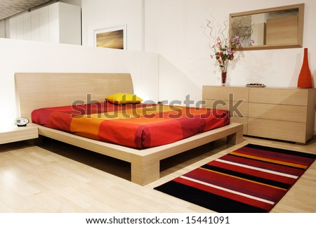fine image of modern wood bed room - stock photo