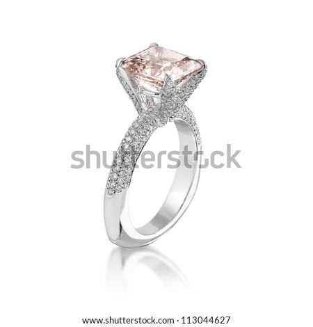 Fine jewelry: Pink diamond engagement ring isolated on white background. - stock photo