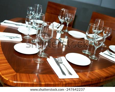 Fine restaurant dinner table - stock photo