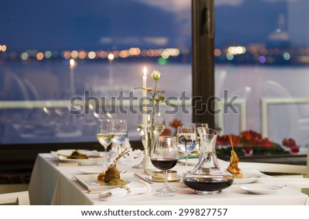 Fine restaurant dinner table place setting - stock photo
