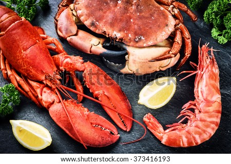 Fine selection of crustacean for dinner. Lobster, crab and jumbo shrimp on dark background  - stock photo