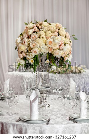 Fine table setting with roses  - stock photo