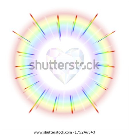 Finely polished crystal in the shape of a heart with rainbow colored beams. - stock photo