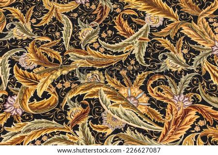 Finely woven silk carpet  in a carpet showroom in  Cappadocia, Turkey - stock photo