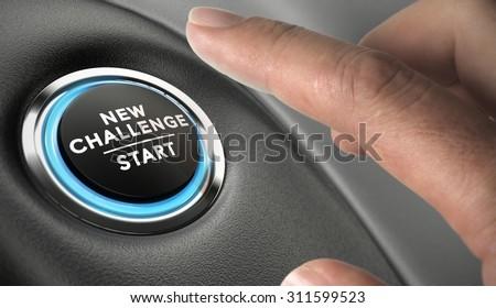 Finger about to press a challenge button. Ambitious man, motivation concept. - stock photo