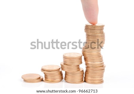 Finger and coins - stock photo