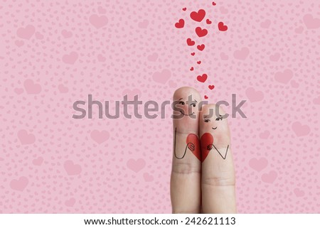 Finger art. Happy Valentine's Day, wedding, birthday, mothers day theme series. Painted fingers smile and love. There are paths included in image. You can easily cut out fingers from the background.  - stock photo
