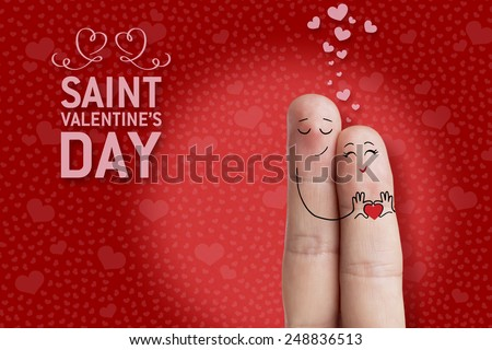 Finger art. Lovers is embracing and holding heart Happy Valentine's Day and 8 March creative love series. Painted fingers There are path in image. You can easily cut out fingers from the background  - stock photo