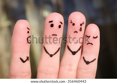 Finger art of people. The concept of a man scolds of people, and they upset. The boss berates his subordinates at work. - stock photo