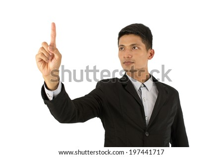 Finger Business That stood out to touch Isolated on white background with clipping path. - stock photo