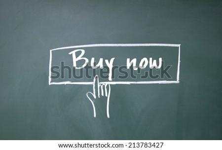 finger click buy now symbol - stock photo