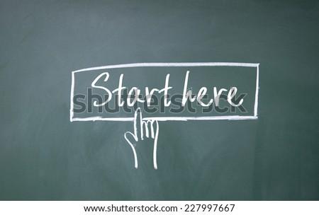 finger click start here symbol on blackboard - stock photo