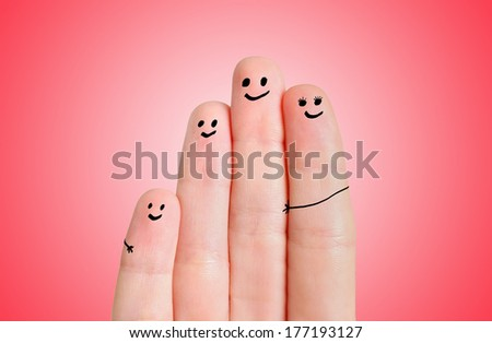 Finger family on red background - stock photo