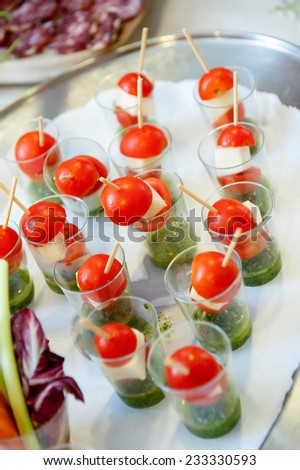 Finger food - Vegetables canapes in verrine - stock photo