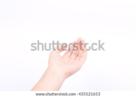 finger hand girl symbols isolated concept open hands of giving pray and May god bless you on white background  - stock photo
