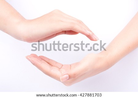 finger hand symbols isolated concept join two cupped hands and may the force be with you on white background - stock photo
