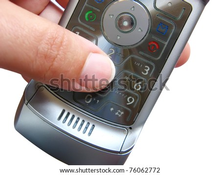 Finger making a call with a mobile telephone - stock photo
