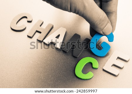 Finger pick a wood letters of Change and Chance word concept - stock photo