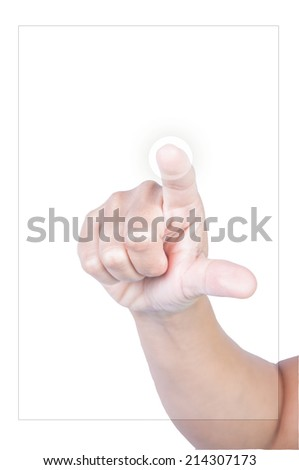 finger point isolated white background - stock photo