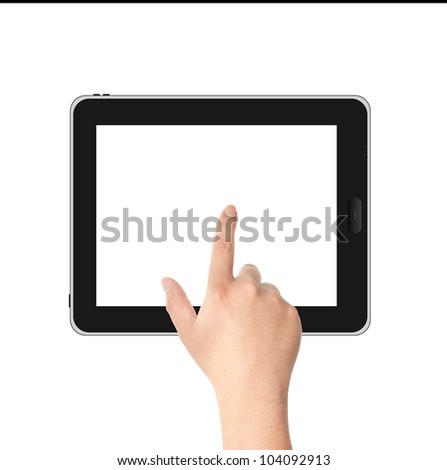 Finger pointing at tablet PC in landscape position with white screen isolated on white background - stock photo