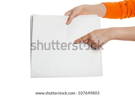 Finger pointing Blank Newspaper with white background - stock photo