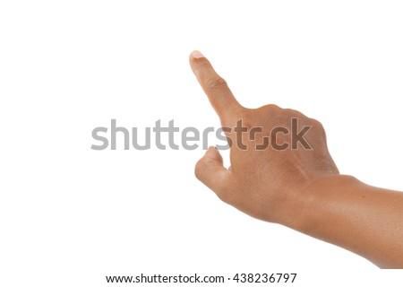finger pointing on white background - stock photo