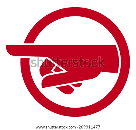 finger pointing symbol (hand with pointing finger) - stock photo